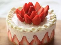 Pistachio and strawberry mousse