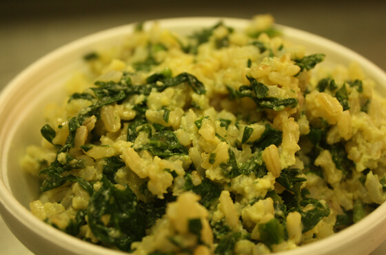 Sauted eggs,ham and green rice