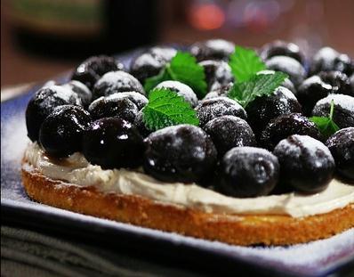 Black cherry & Almond tart
