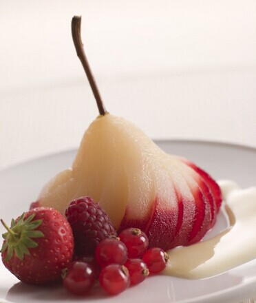 Poached Pears with Amazing Raspberry Sauce