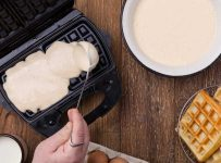 electric waffle iron with a thermostat,